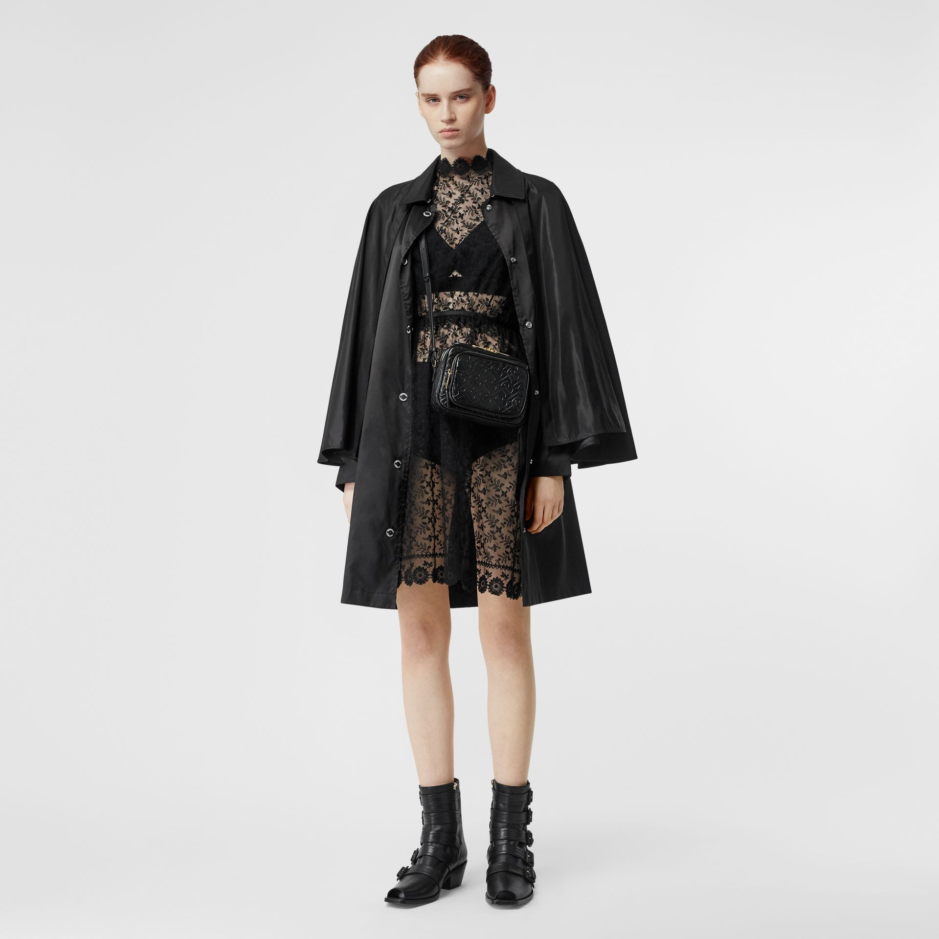 Floral Embroidered Tulle Dress in Black - Women | Burberry - gallery image 5