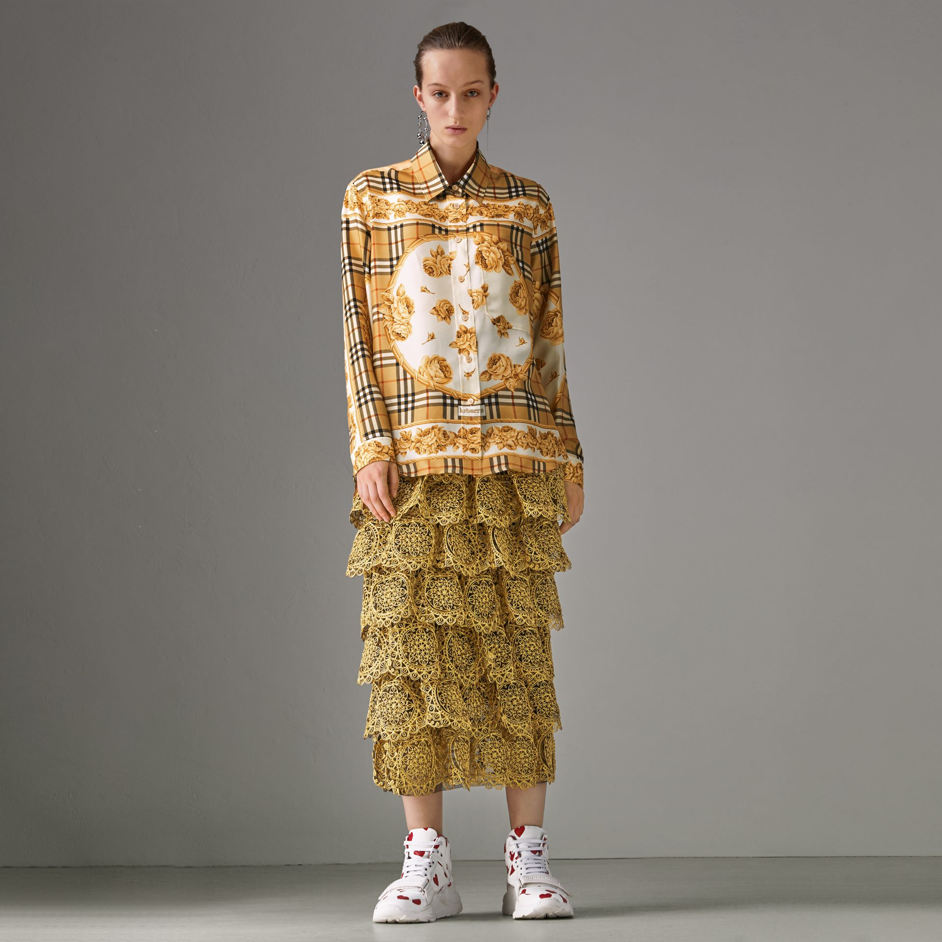 Archive Scarf Print Silk Shirt in Antique Yellow - Women | Burberry Singapore - gallery image 0