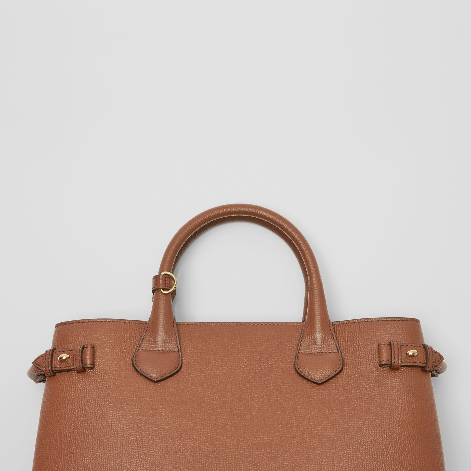 The Medium Banner in Leather and House Check in Tan - Women | Burberry United Kingdom - gallery image 1