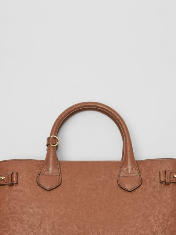 The Medium Banner in Leather and House Check in Tan - Women | Burberry United Kingdom - cell image 1