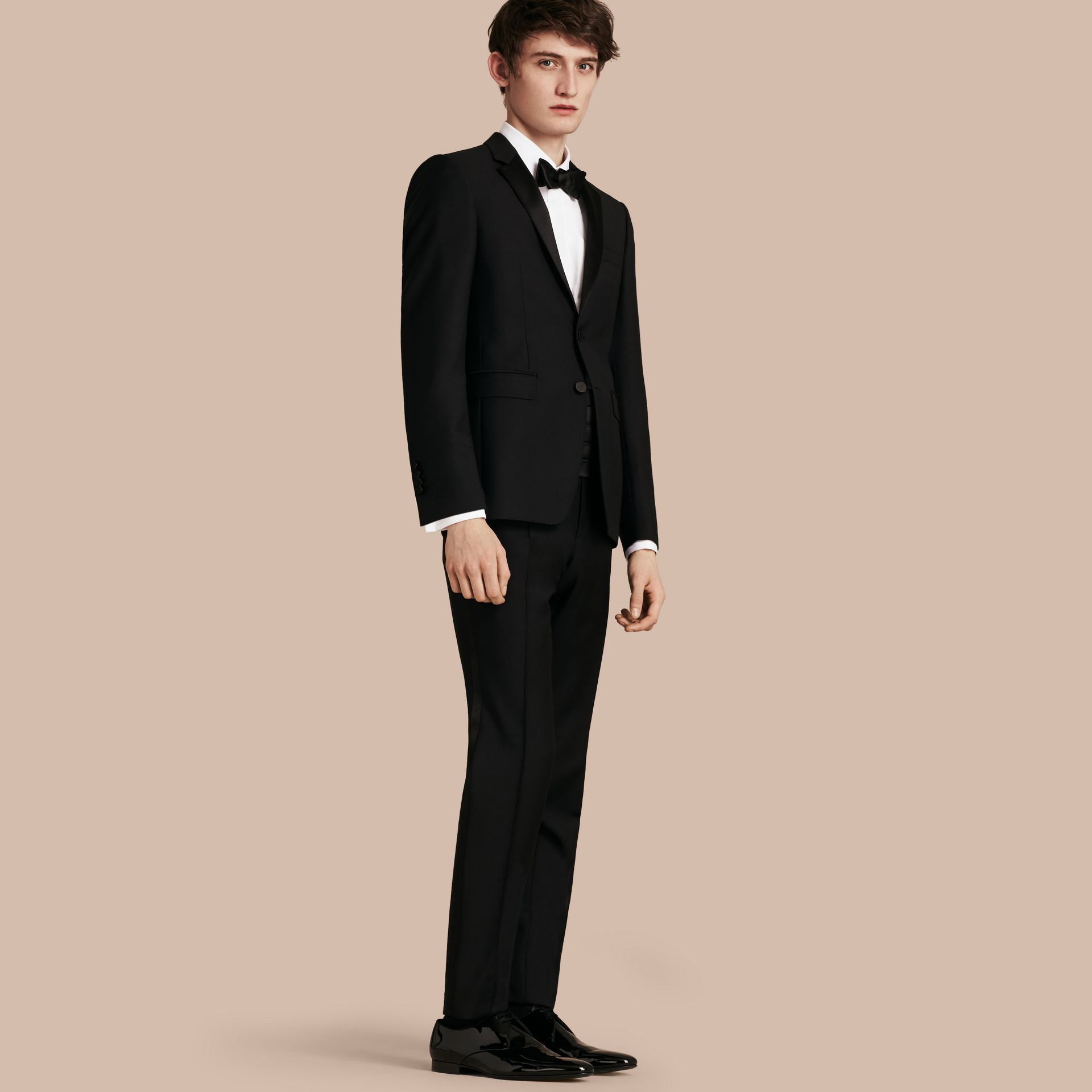 Black Modern Fit Wool Mohair Half-canvas Tuxedo - gallery image 1