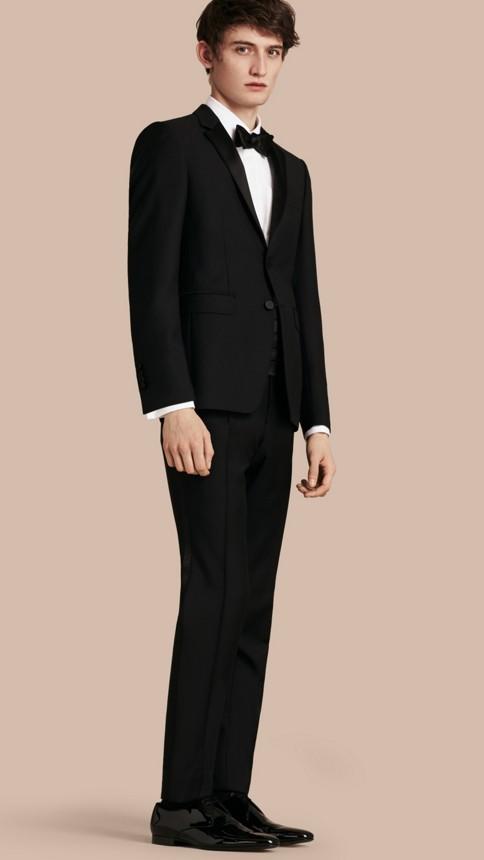 Black Modern Fit Wool Mohair Half-canvas Tuxedo - Image 1