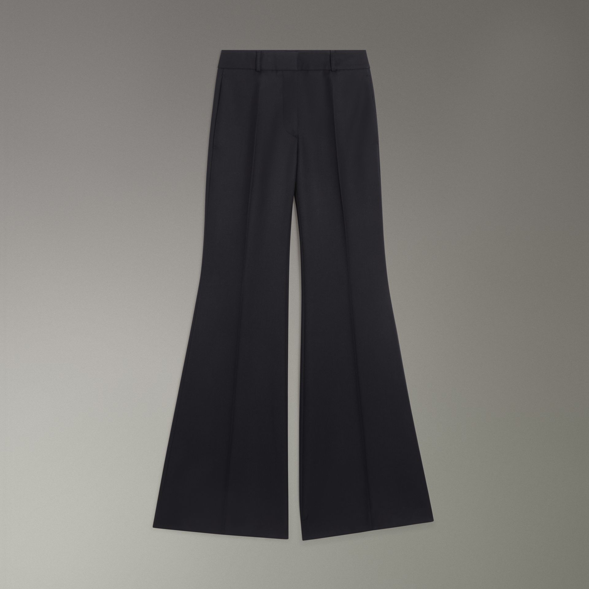 Flared Wool Tailored Trousers in Dark Navy - Women | Burberry Singapore - gallery image 3
