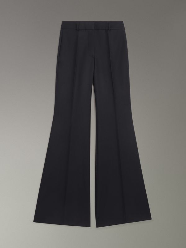 Flared Wool Tailored Trousers in Dark Navy - Women | Burberry Australia - cell image 3