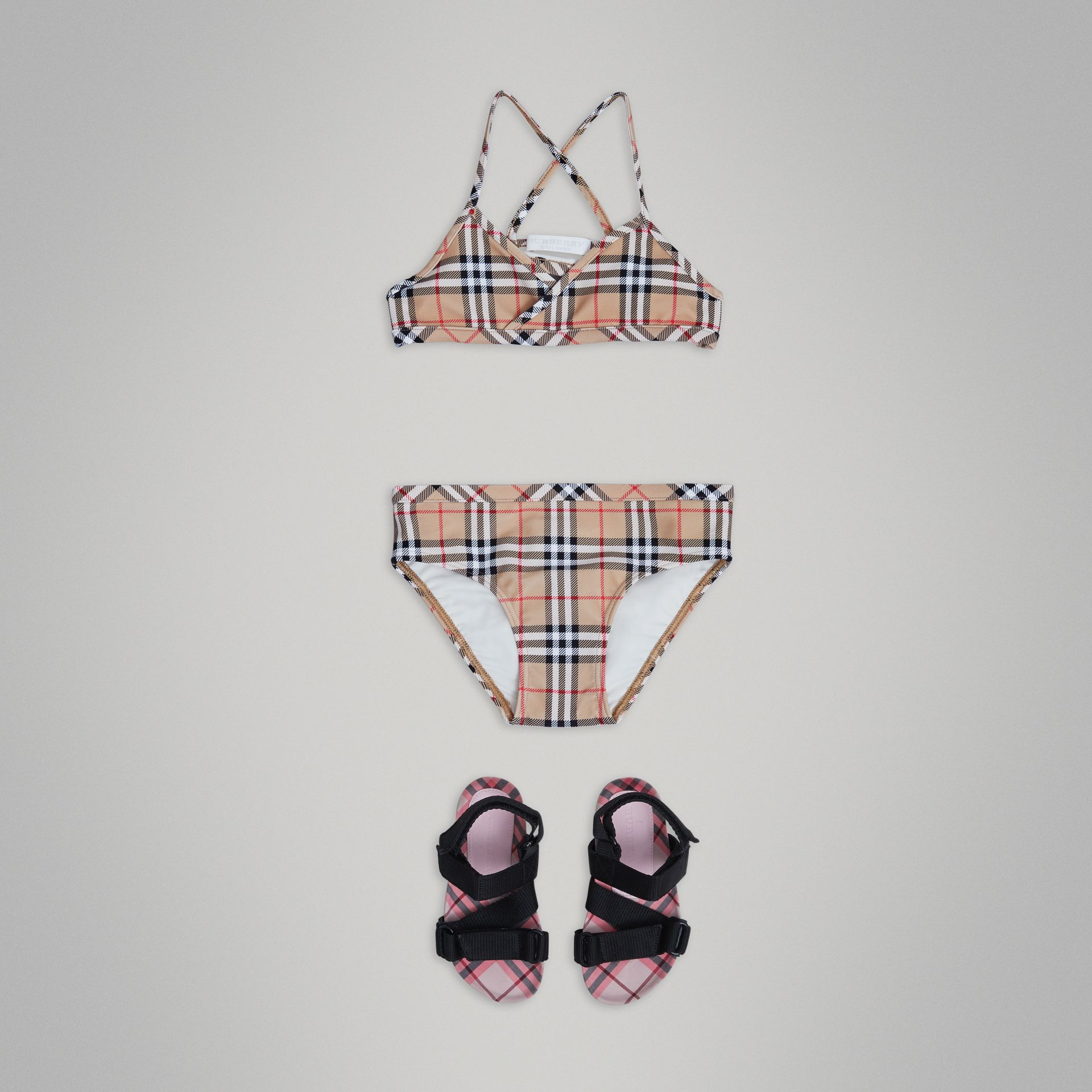 Vintage Check Bikini in Camel - Girl | Burberry Singapore - gallery image 0