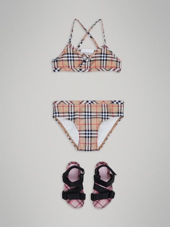 Bikini mit Vintage Check-Muster (Camelfarben)