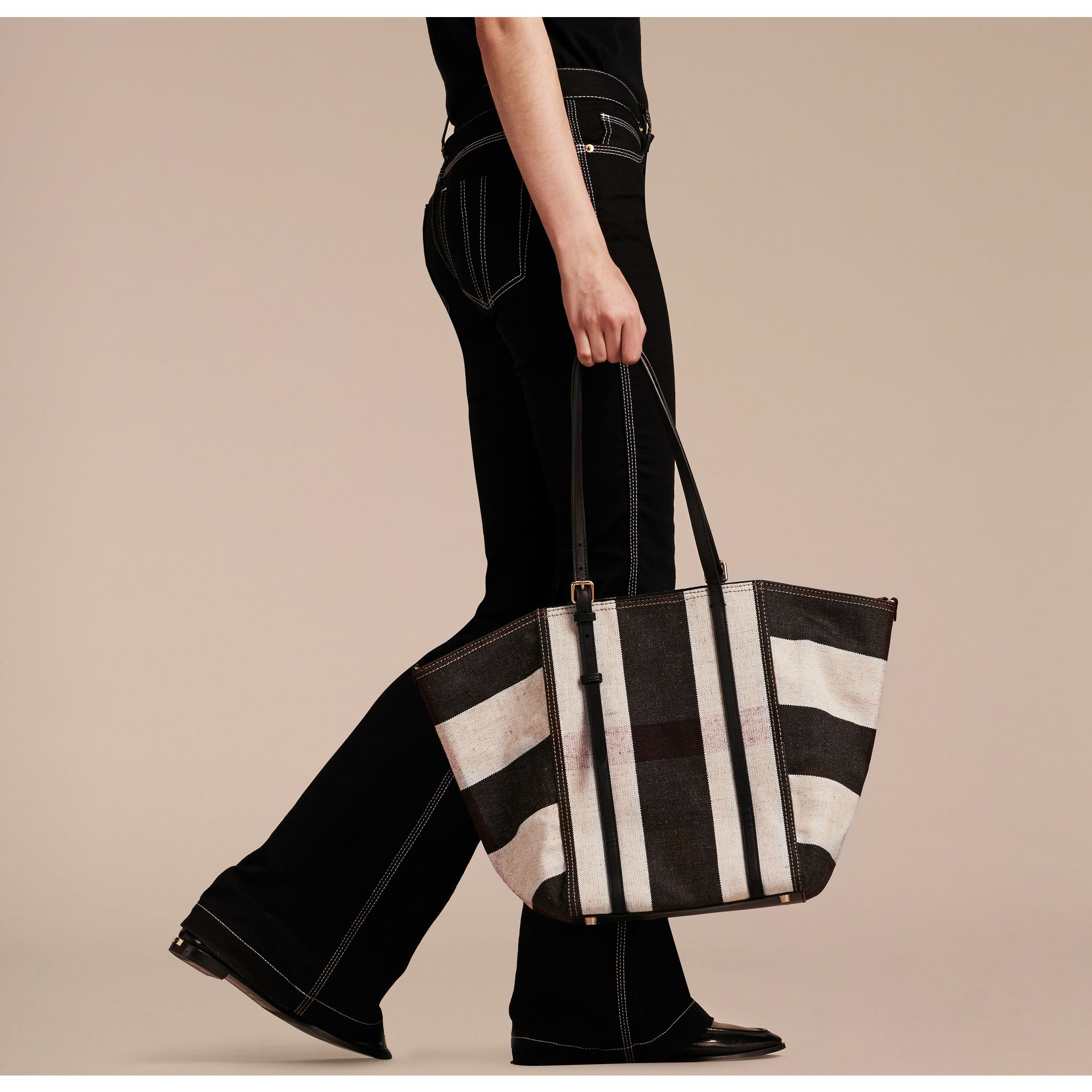 Black Striped Canvas Tote with Leather Trim - gallery image 3