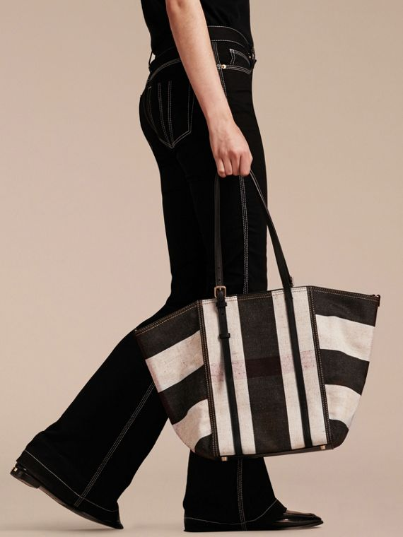 Black Striped Canvas Tote with Leather Trim - cell image 2