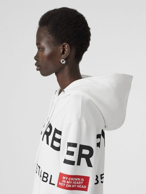 Horseferry Print Cotton Oversized Hoodie in White - Women | Burberry - cell image 1