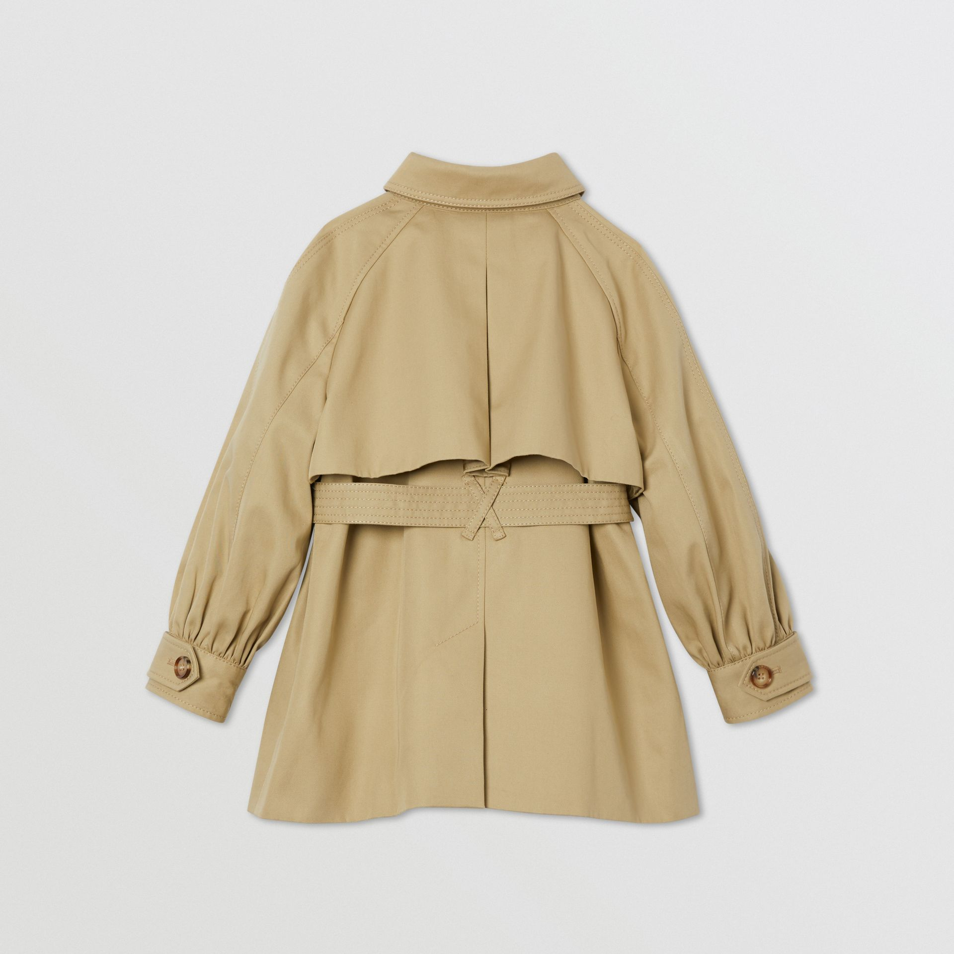 Detachable Hood Cotton Twill Trench Coat in Honey | Burberry - gallery image 3