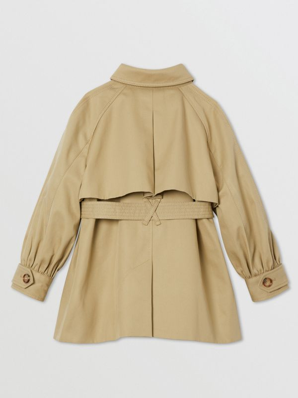 Detachable Hood Cotton Twill Trench Coat in Honey | Burberry - cell image 3
