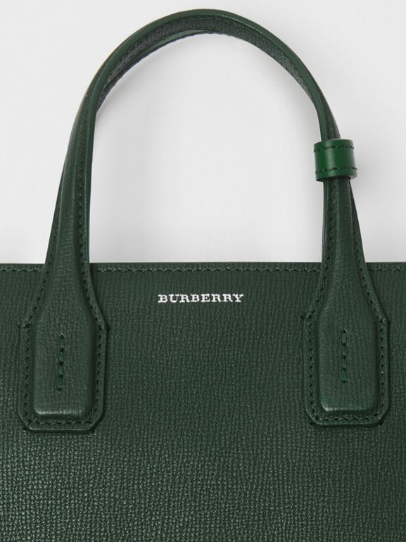 The Small Banner in Grainy Leather in Vintage Green - Women | Burberry - cell image 1