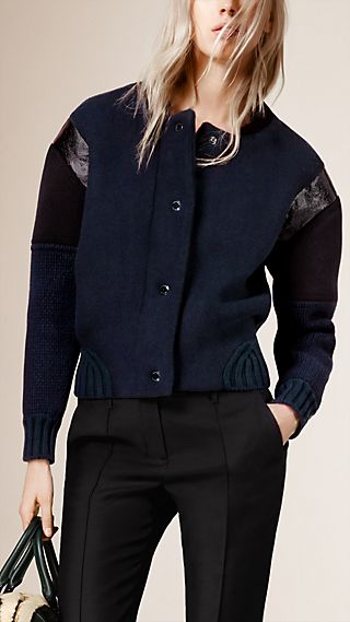 Knitted Bomber Jacket with Contrast Sleeves