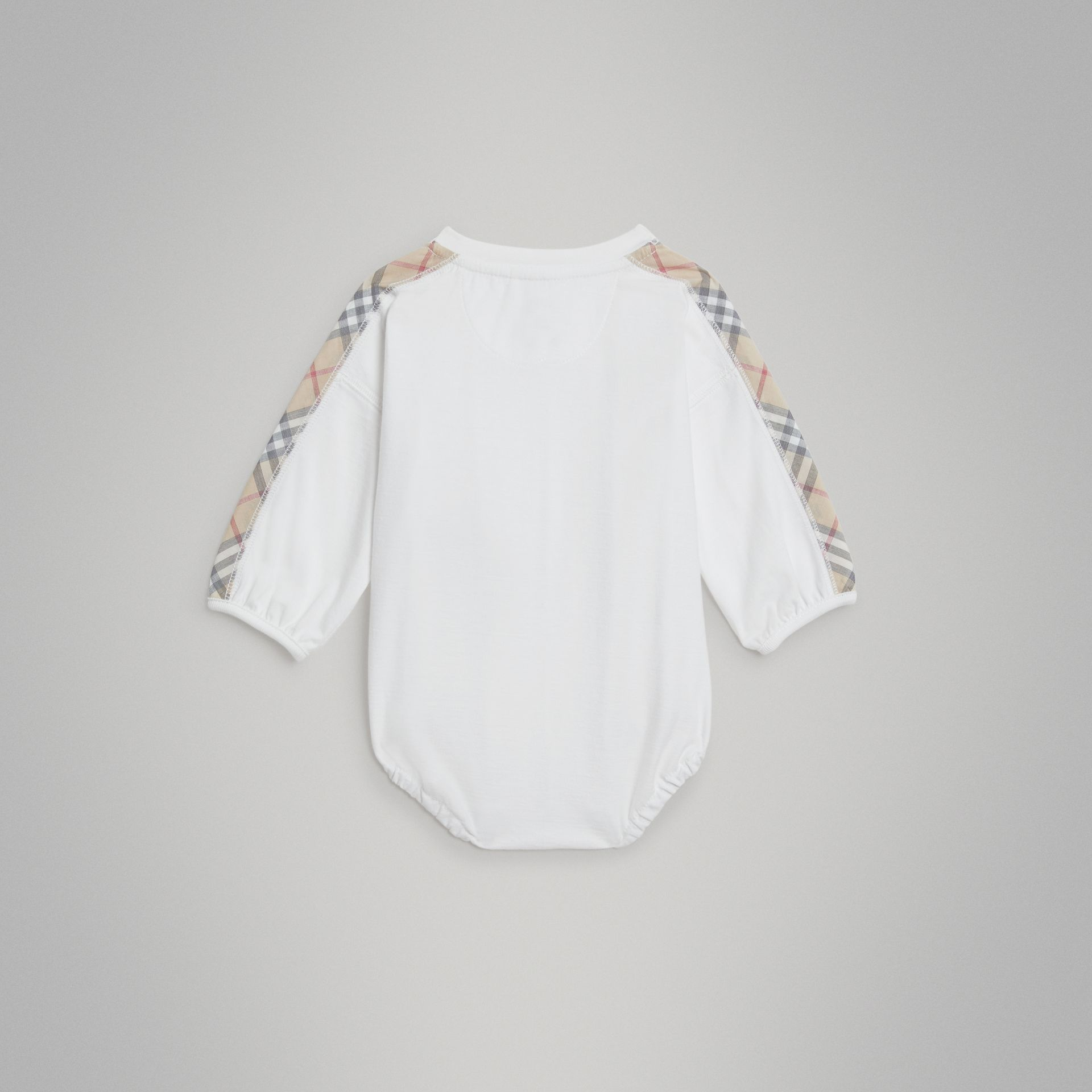 Check Cotton Three-piece Baby Gift Set in White - Children | Burberry United States - gallery image 3