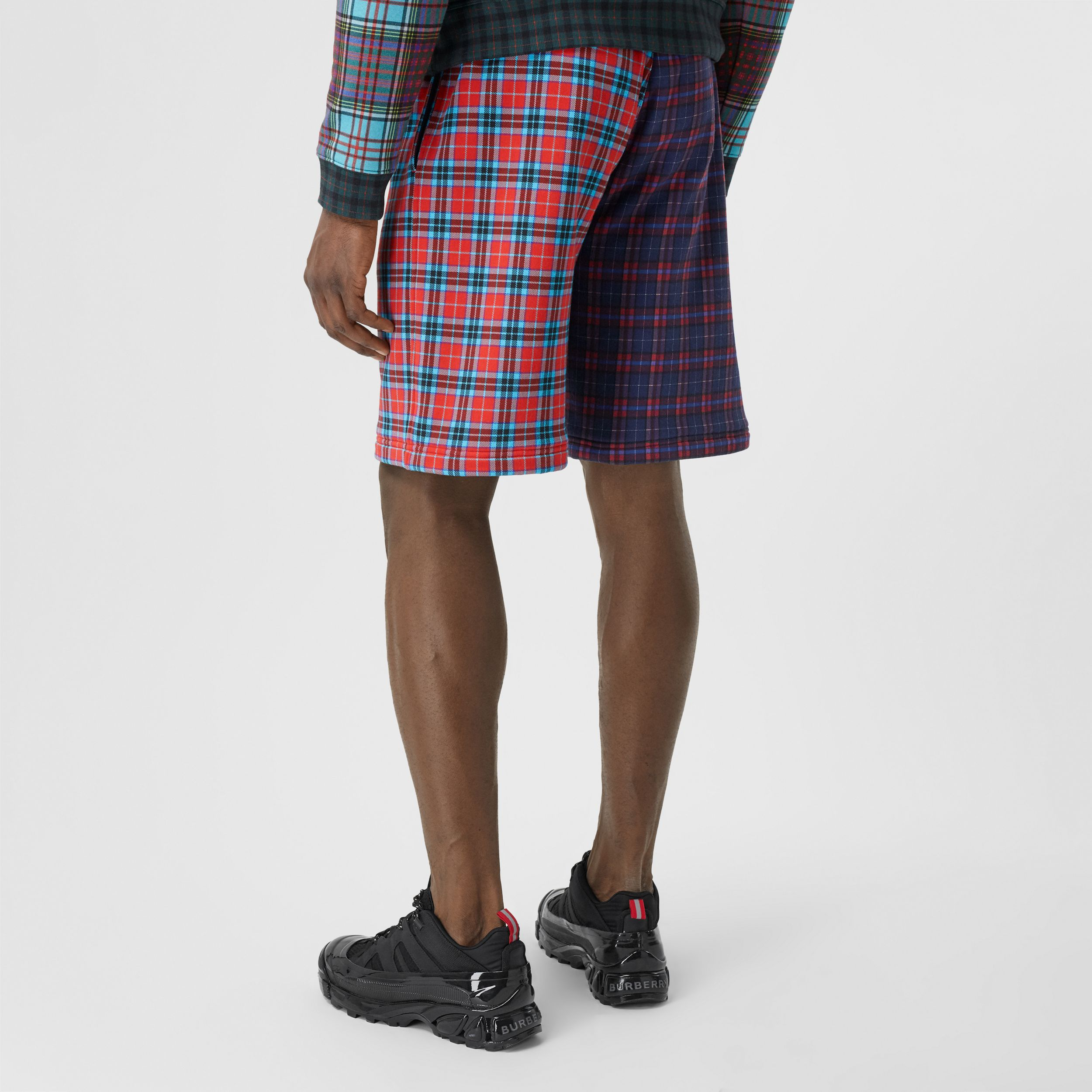 Patchwork Check Cotton Blend Drawcord Shorts in Navy - Men | Burberry - 3