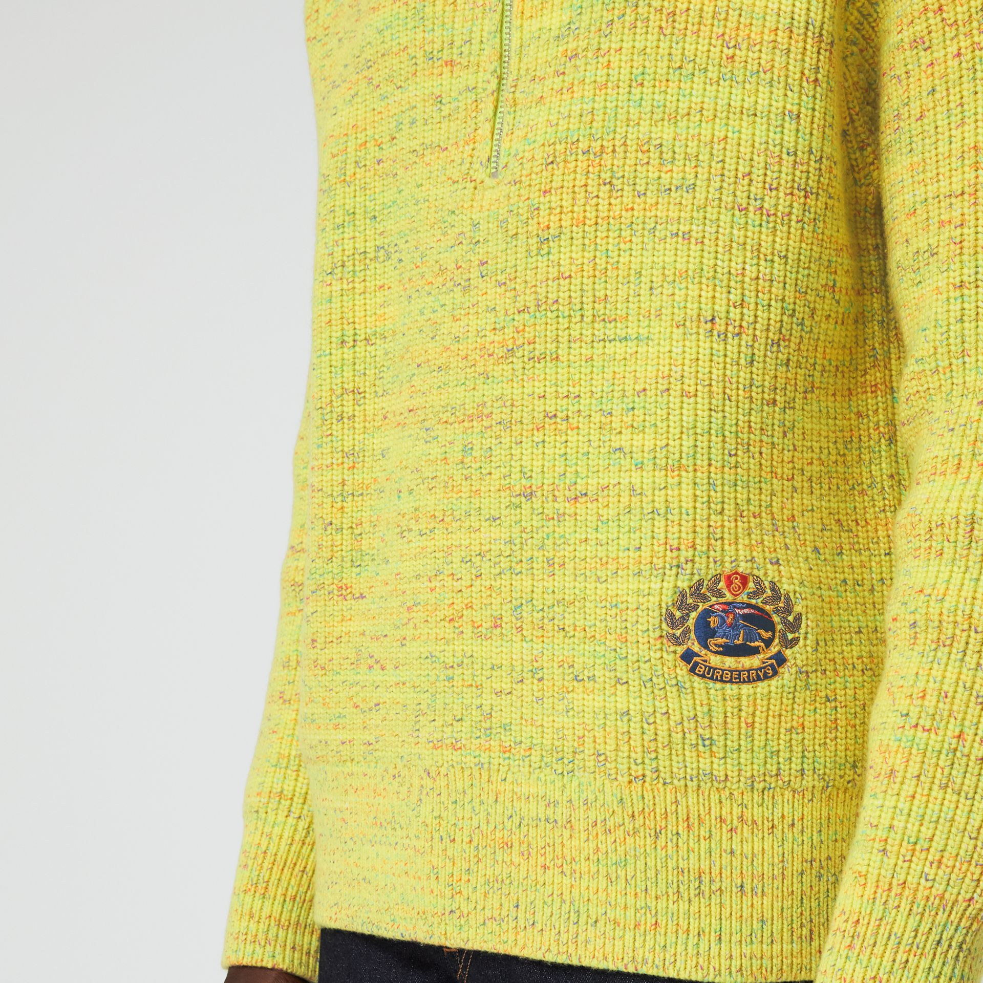 Rib Knit Wool Cashmere Blend Half-zip Sweater in Vibrant Yellow - Men | Burberry - gallery image 4