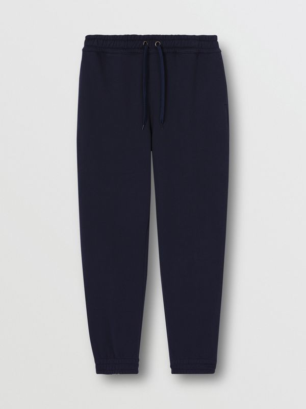Logo Appliqué Cotton Trackpants in Navy - Men | Burberry - cell image 3