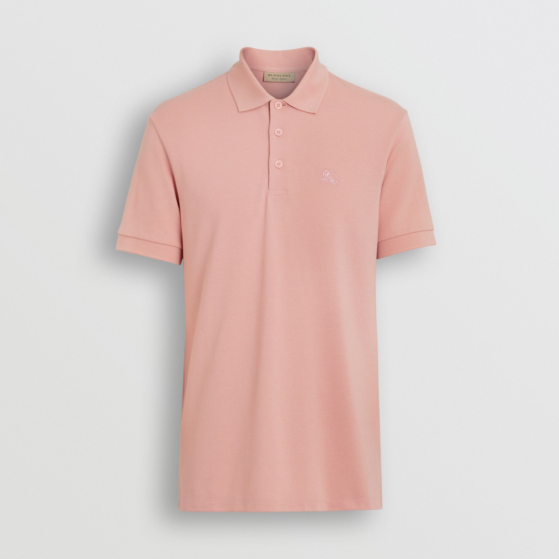 Check Placket Cotton Polo Shirt in Chalk Pink - Men | Burberry Singapore - gallery image 3
