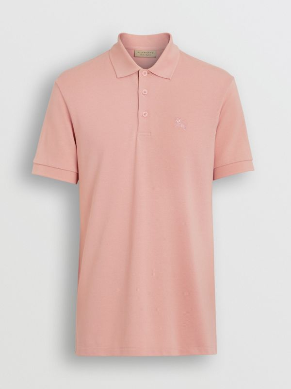 Check Placket Cotton Polo Shirt in Chalk Pink - Men | Burberry Singapore - cell image 3