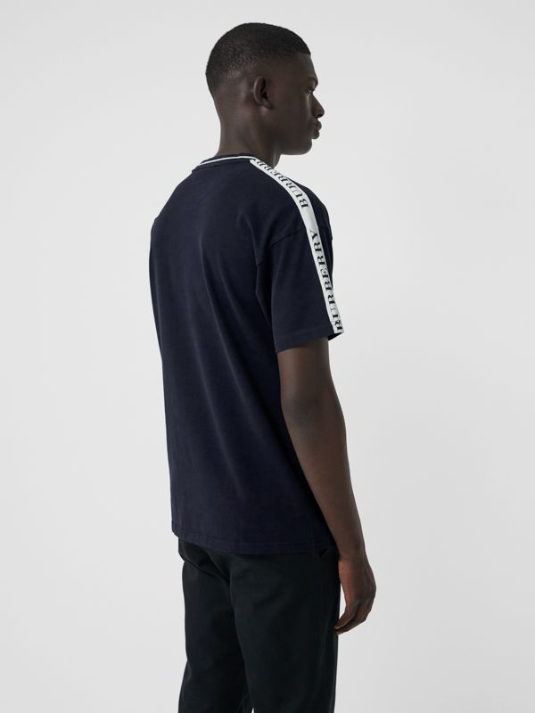Tape Detail Cotton T-shirt in Dark Navy - Men | Burberry Australia - cell image 2