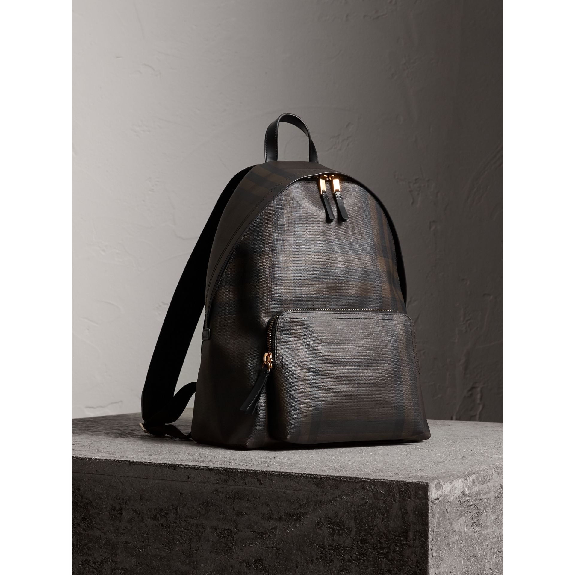 Leather Trim London Check Backpack in Chocolate/black - Men | Burberry - gallery image 7