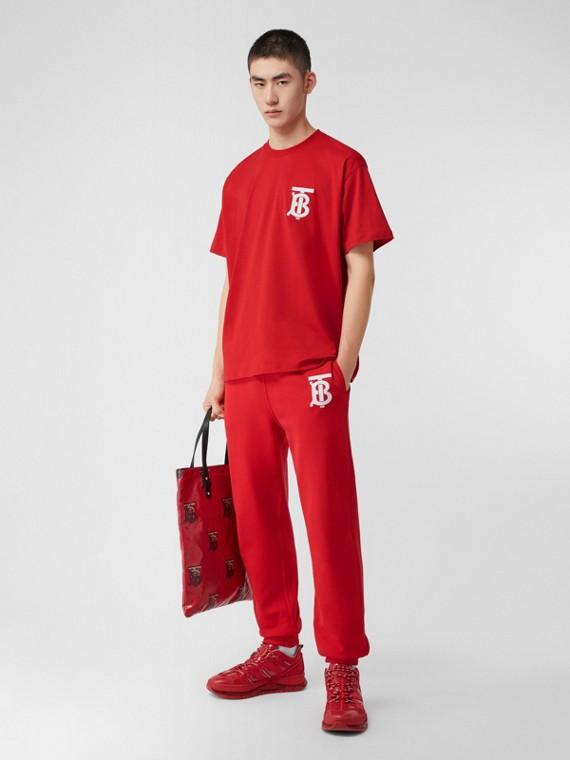 花押字圖案棉質運動褲 (亮紅色)
