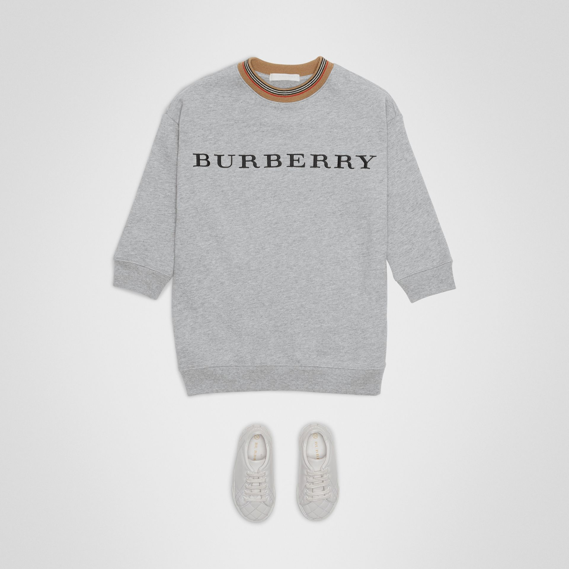 Embroidered Logo Cotton Dress in Grey Melange | Burberry - gallery image 2