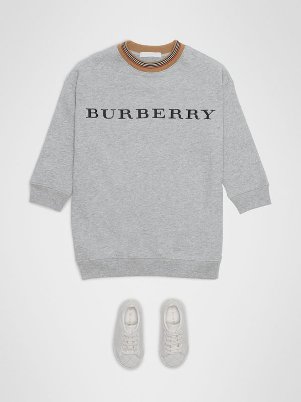 Embroidered Logo Cotton Dress in Grey Melange | Burberry - cell image 2