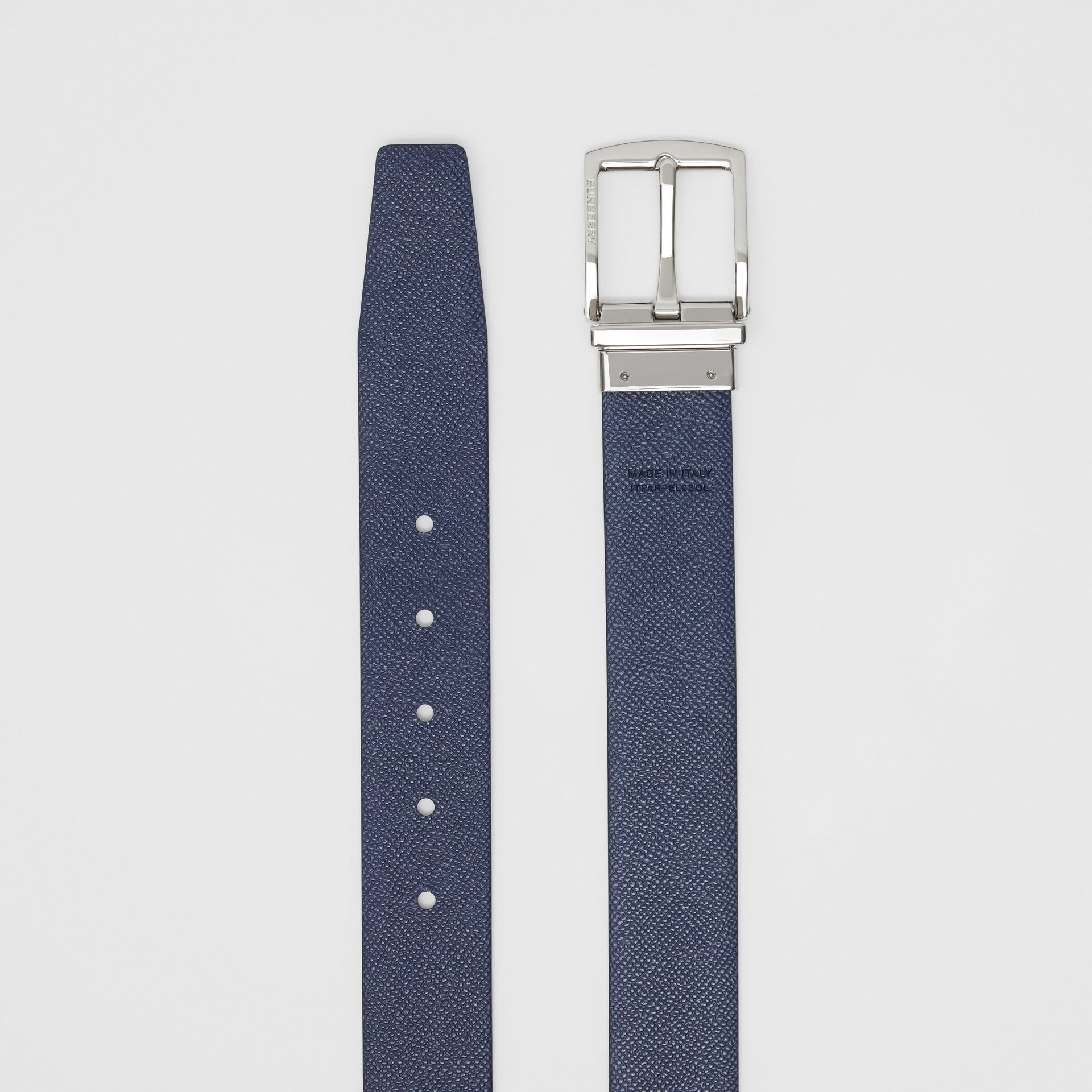 Reversible Grainy Leather Belt in Black/navy - Men | Burberry Canada - gallery image 8
