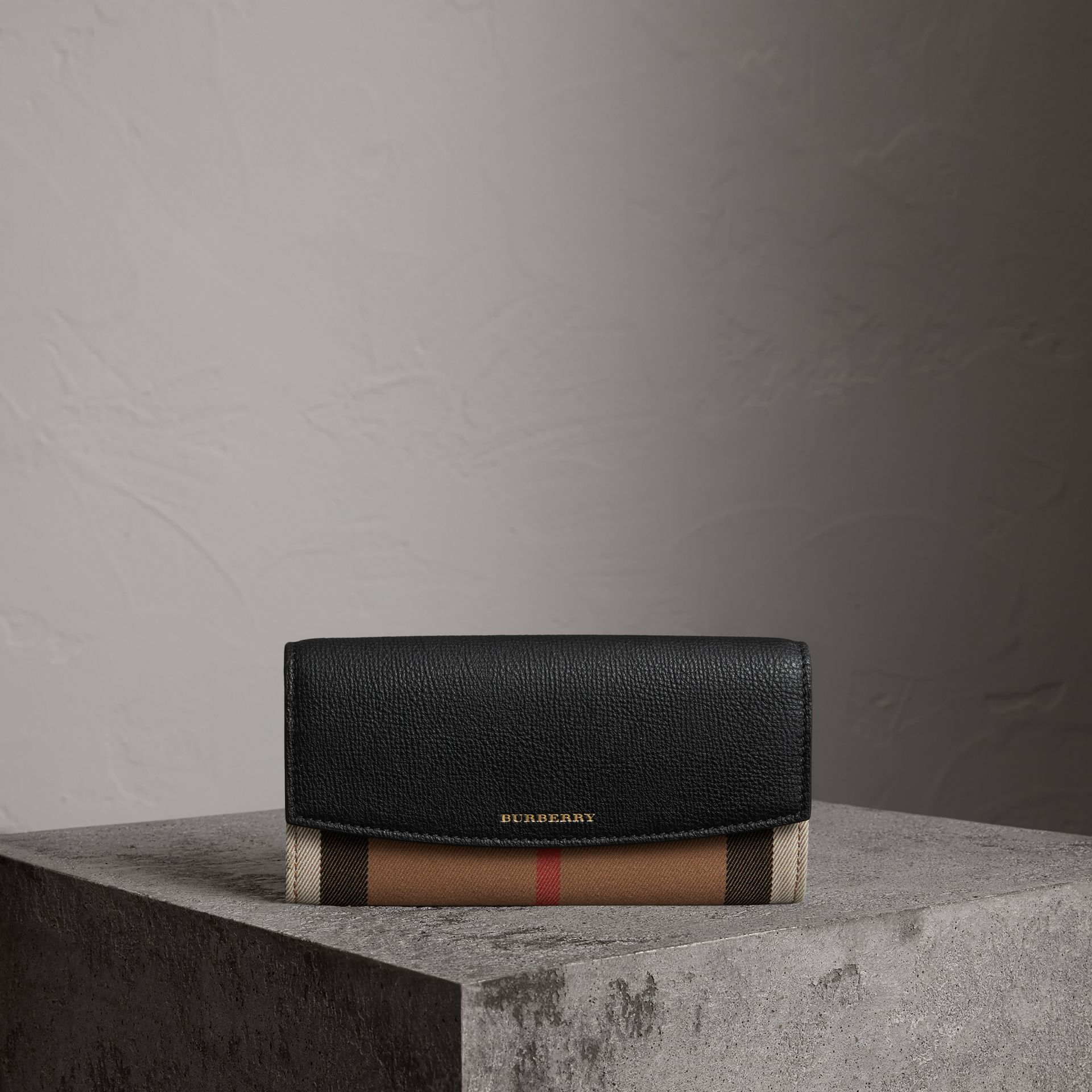 House Check And Leather Continental Wallet in Black - Women | Burberry Australia - gallery image 0