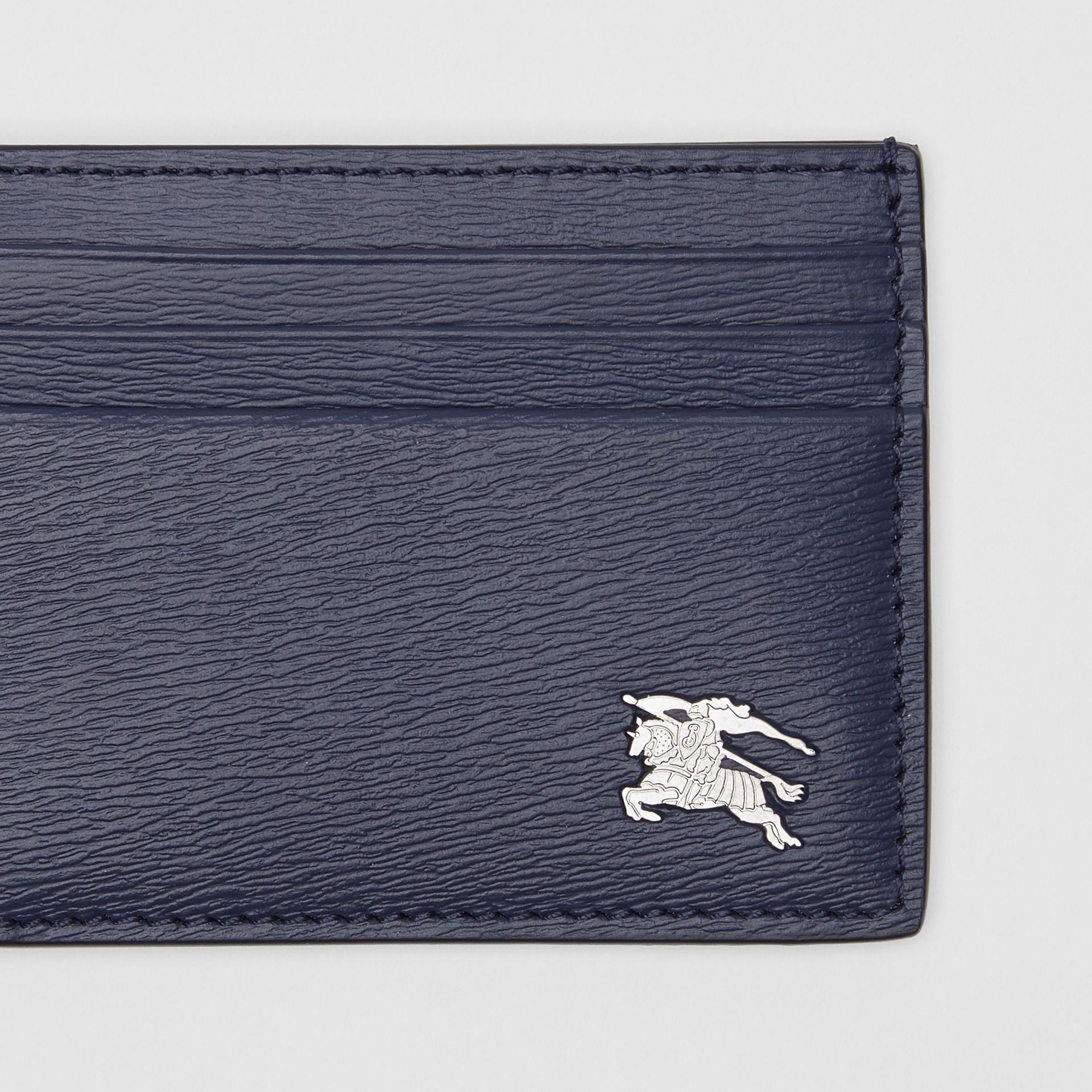 Grainy Leather Card Case in Navy - Men | Burberry - gallery image 1