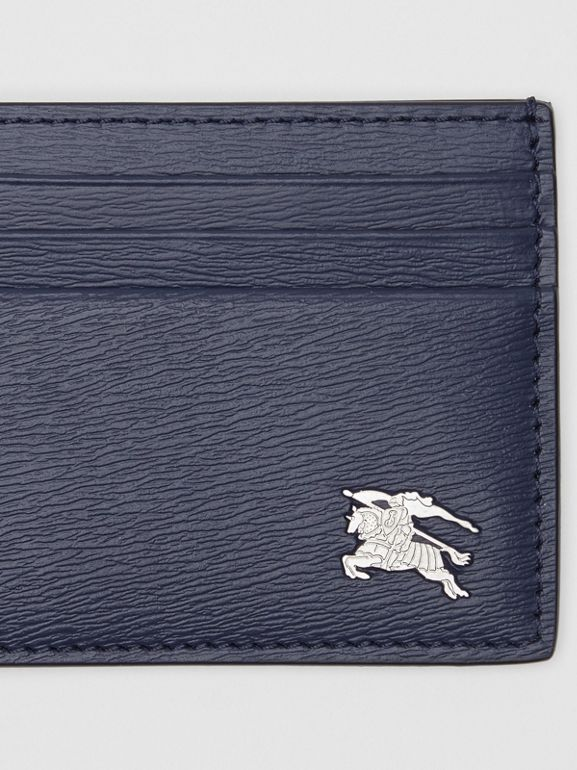 Grainy Leather Card Case in Navy - Men | Burberry - cell image 1