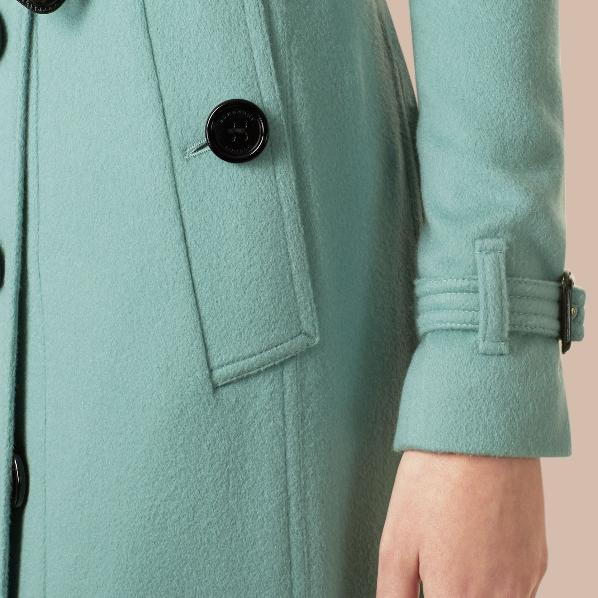 Dusty mint Sandringham Fit Cashmere Trench Coat Dusty Mint - gallery image 2