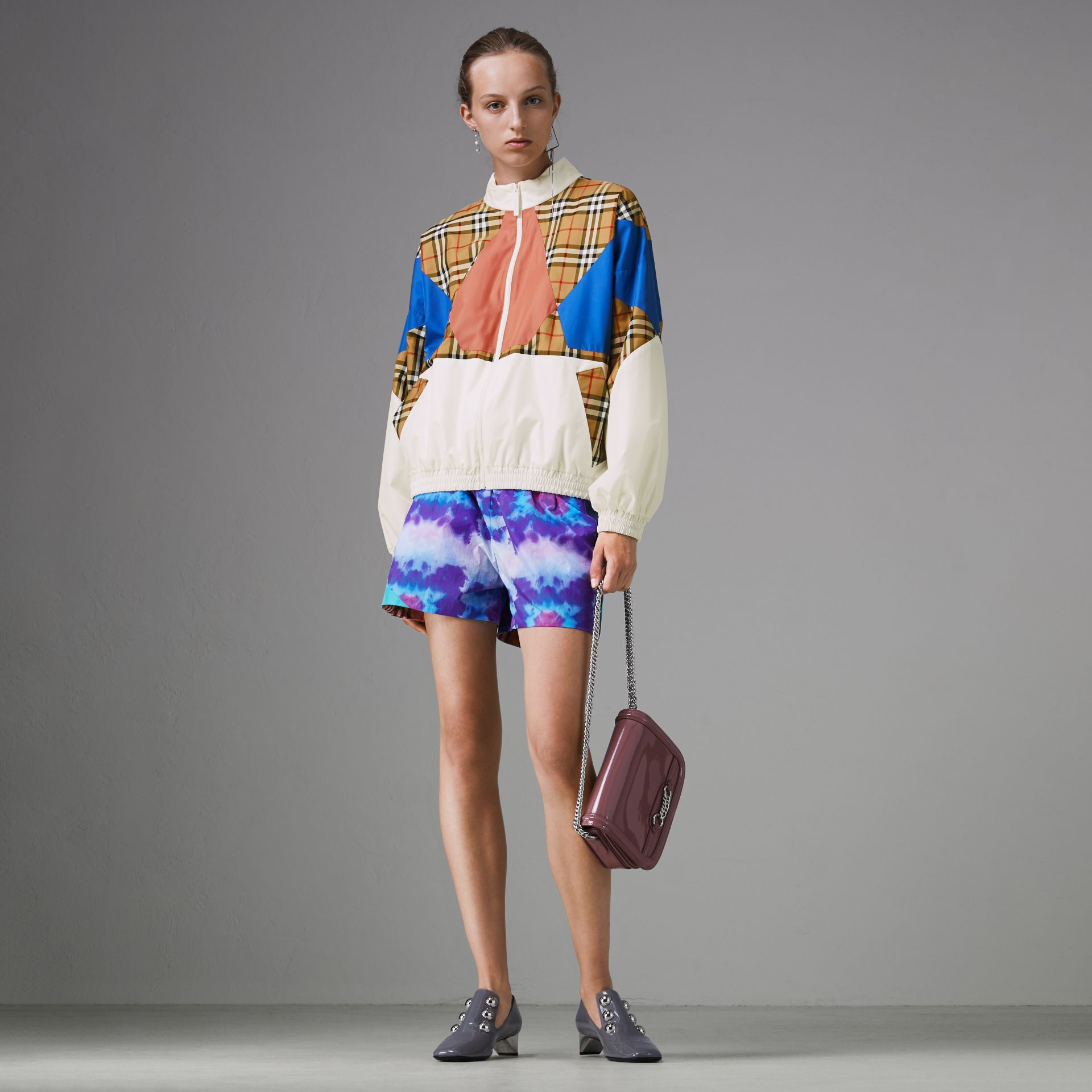 Tie-dye Print Shell Shorts in Orchid Purple - Women | Burberry United Kingdom - gallery image 0