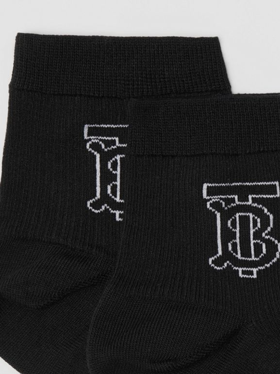 Monogram Intarsia Socks in Black - Women | Burberry - cell image 1