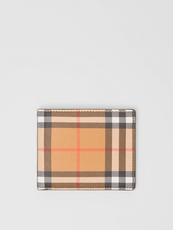 Vintage Check Leather ID Wallet in Black