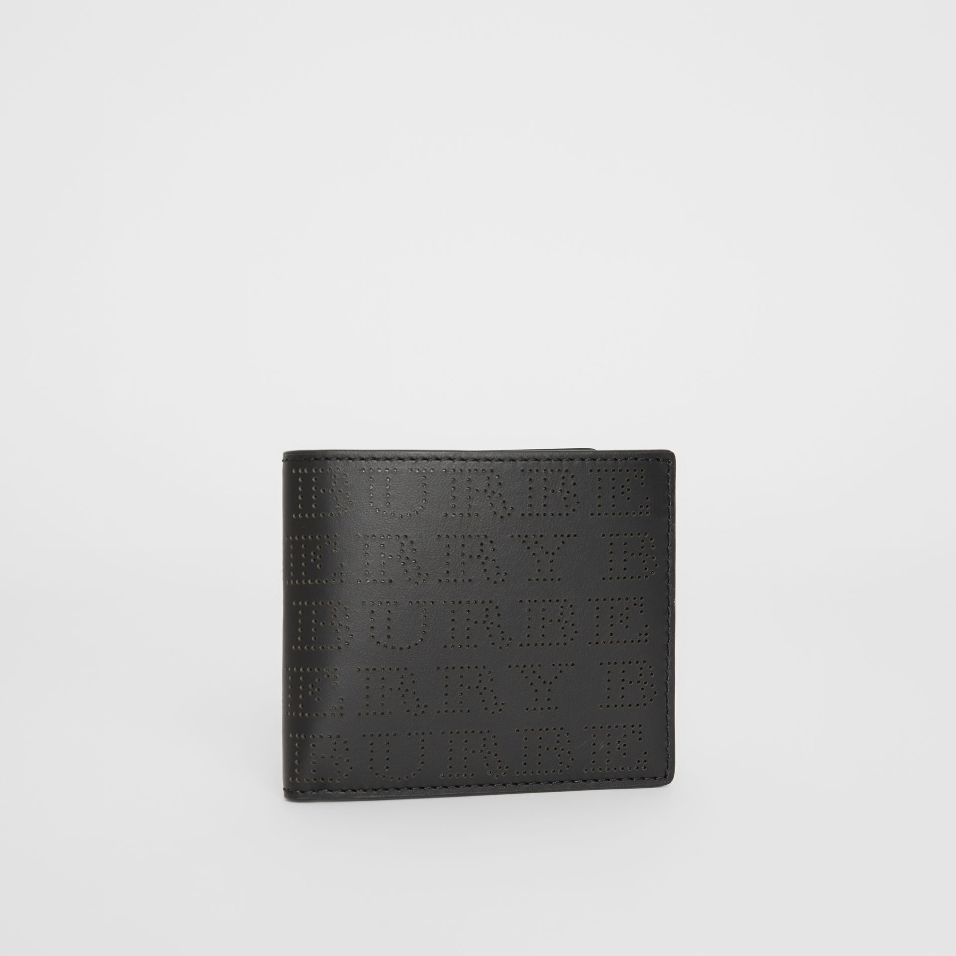 Perforated Logo Leather International Bifold Wallet in Black - Men | Burberry Canada - gallery image 4