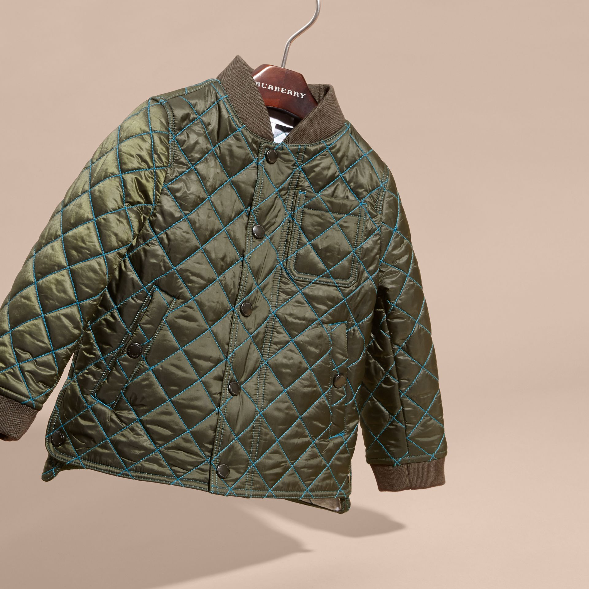 Olive green Quilted Technical Jacket with Contrast Topstitch Detail - gallery image 3