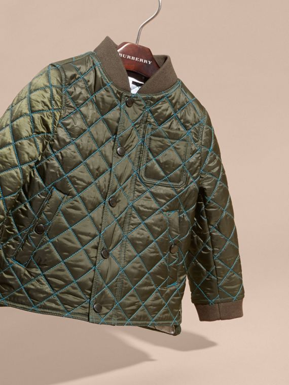 Olive green Quilted Technical Jacket with Contrast Topstitch Detail - cell image 2