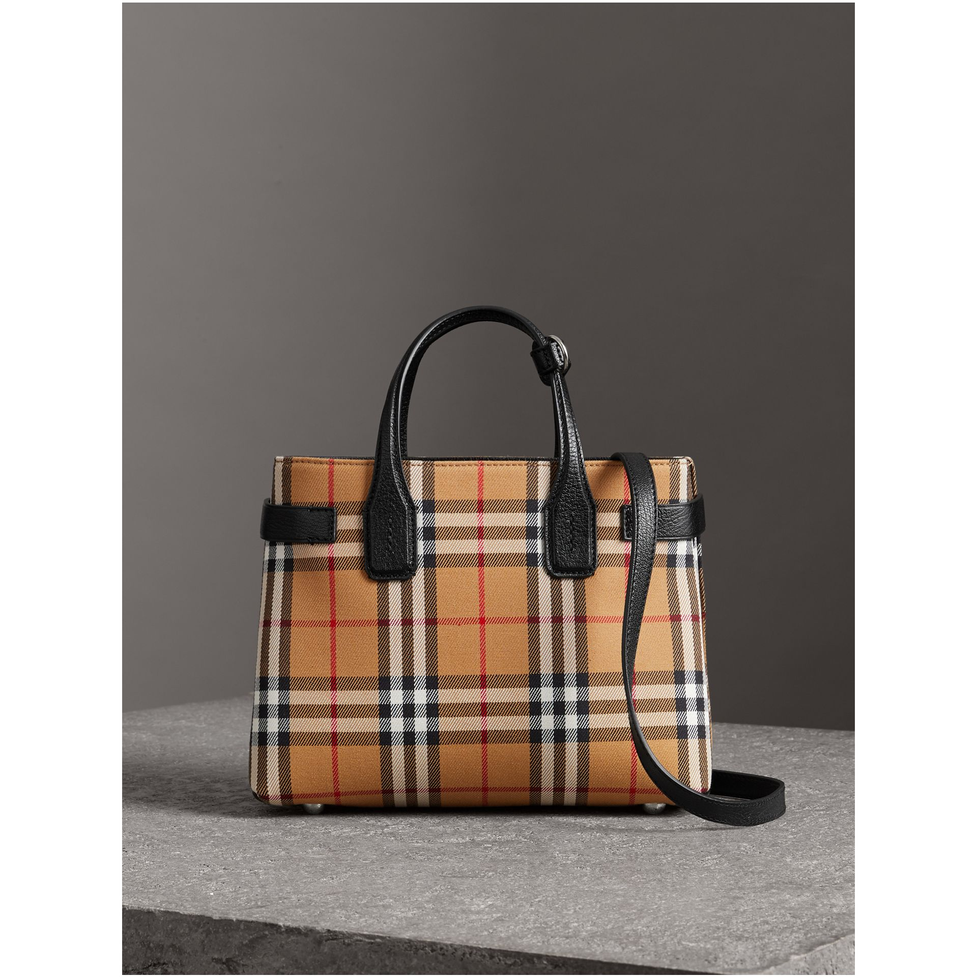 The Small Banner in Vintage Check and Leather in Black - Women | Burberry Australia - gallery image 5