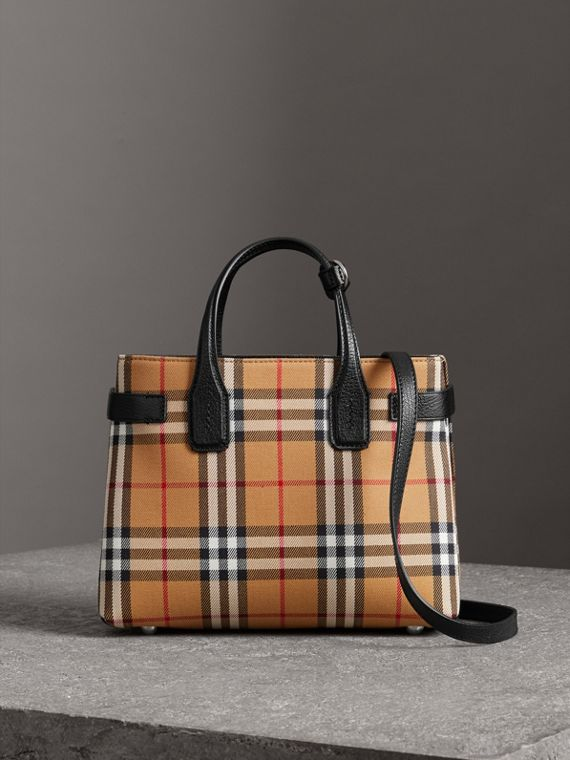 The Small Banner in Vintage Check and Leather in Black