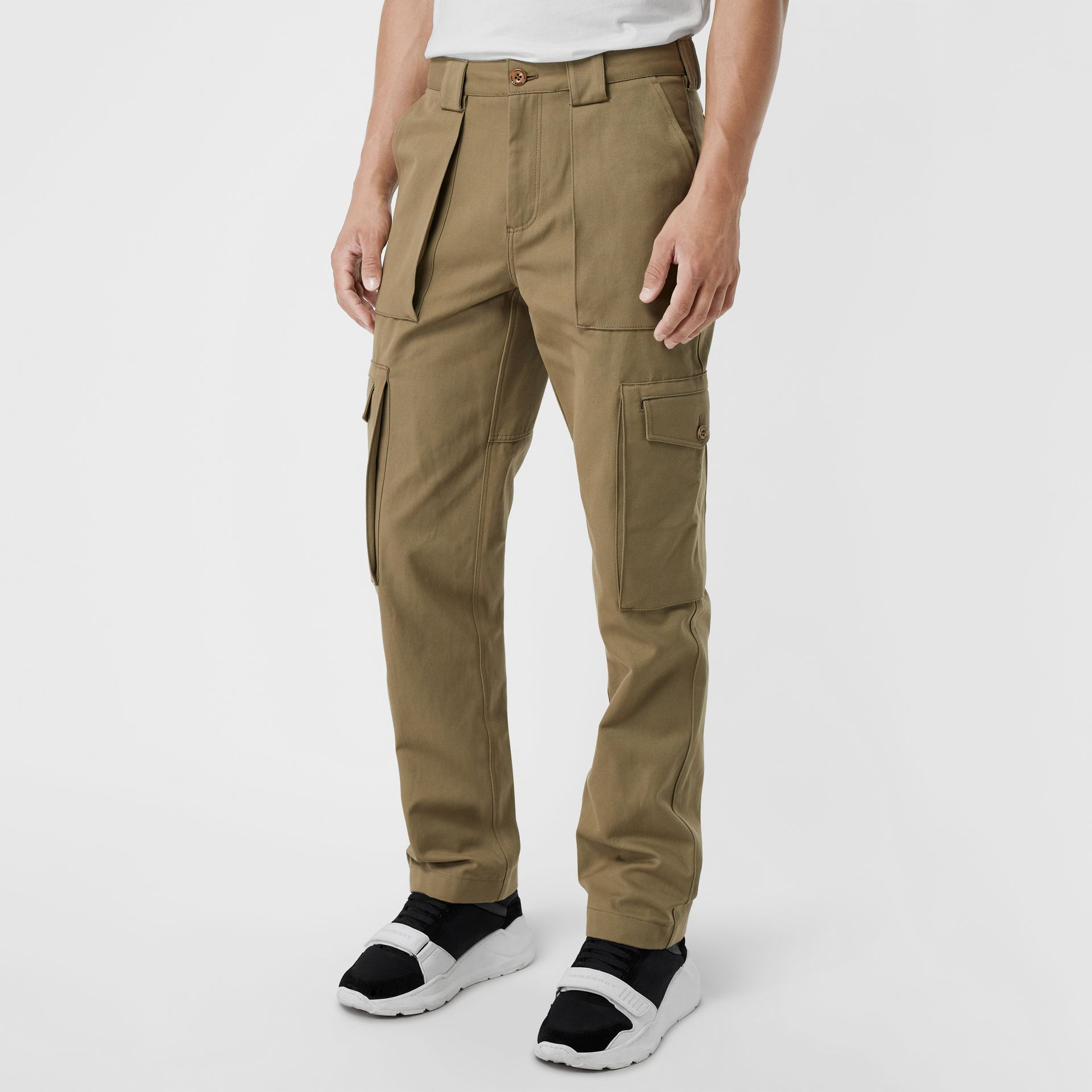 Technical Cotton Twill Cargo Trousers in Khaki - Men | Burberry - gallery image 4