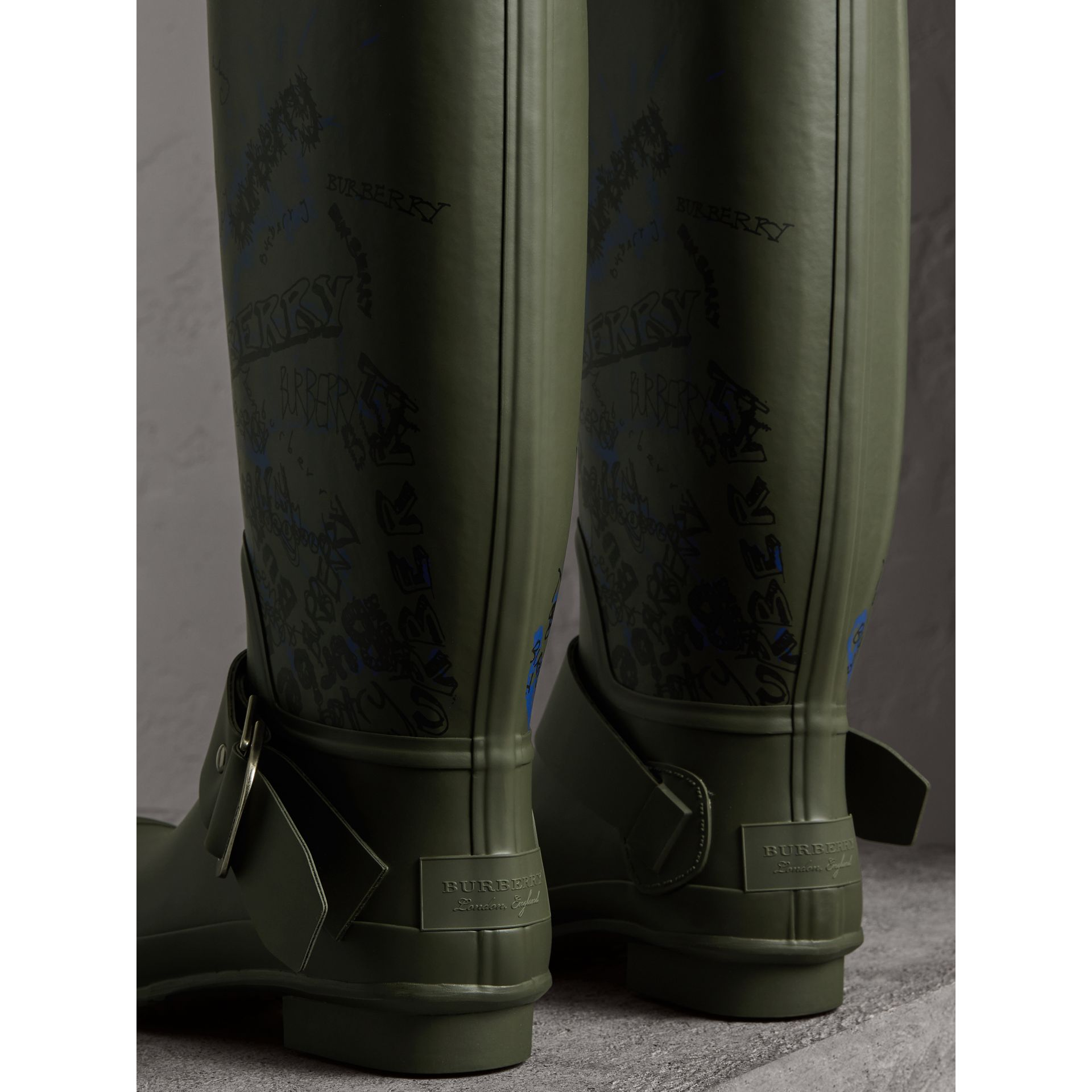 Doodle Print Rubber Rain Boots in Military Green - Men | Burberry United States - gallery image 4