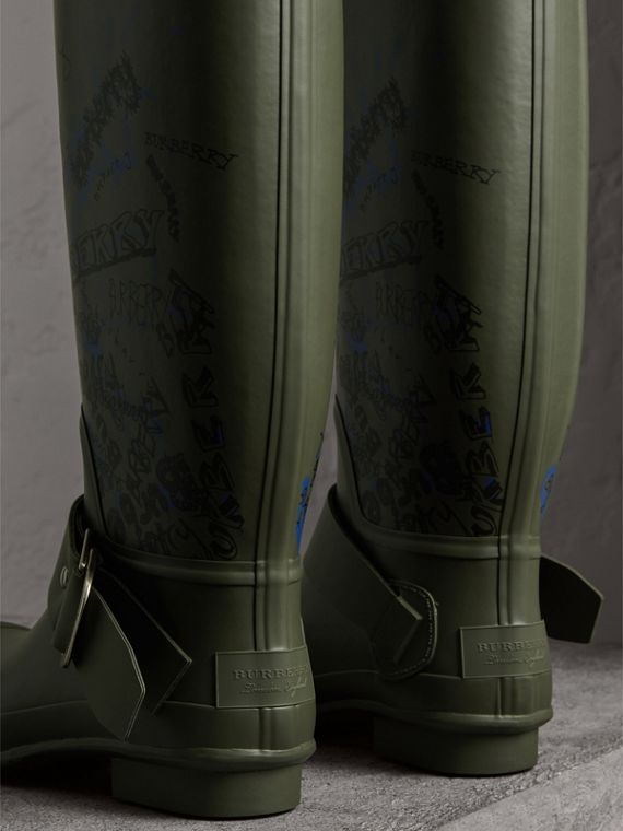 Doodle Print Rubber Rain Boots in Military Green - Men | Burberry - cell image 3