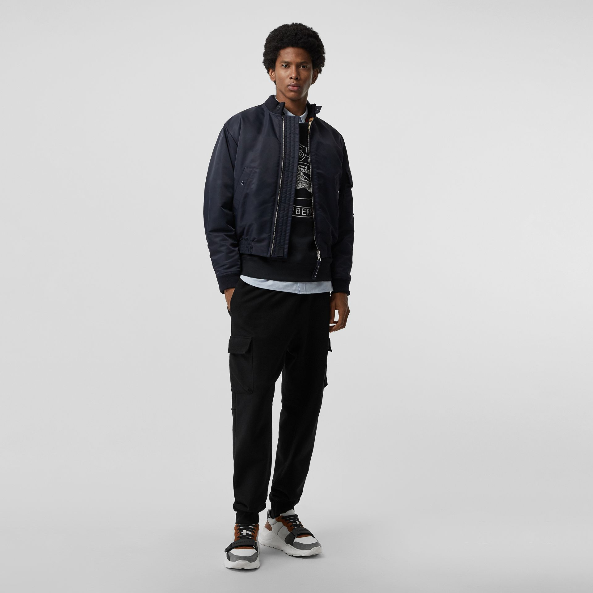 Padded Nylon Bomber Jacket in Navy - Men | Burberry - gallery image 0