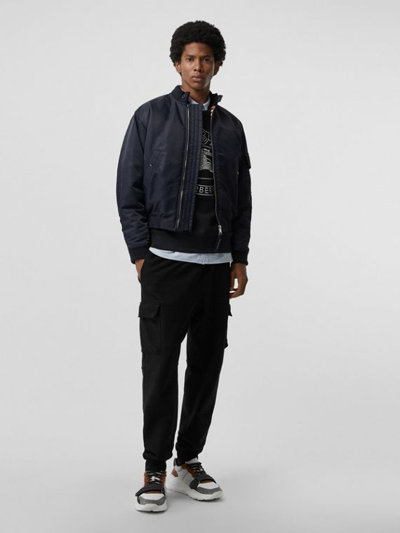 Padded Nylon Bomber Jacket in Navy