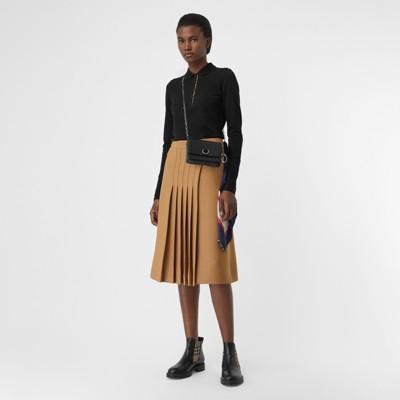 Long Sleeve Check Placket Cotton Piqué Polo Shirt by Burberry