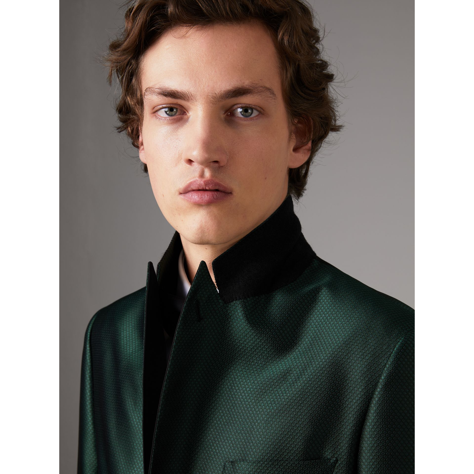 Soho Fit Jacquard Evening Jacket in Forest Green - Men | Burberry Canada - gallery image 4