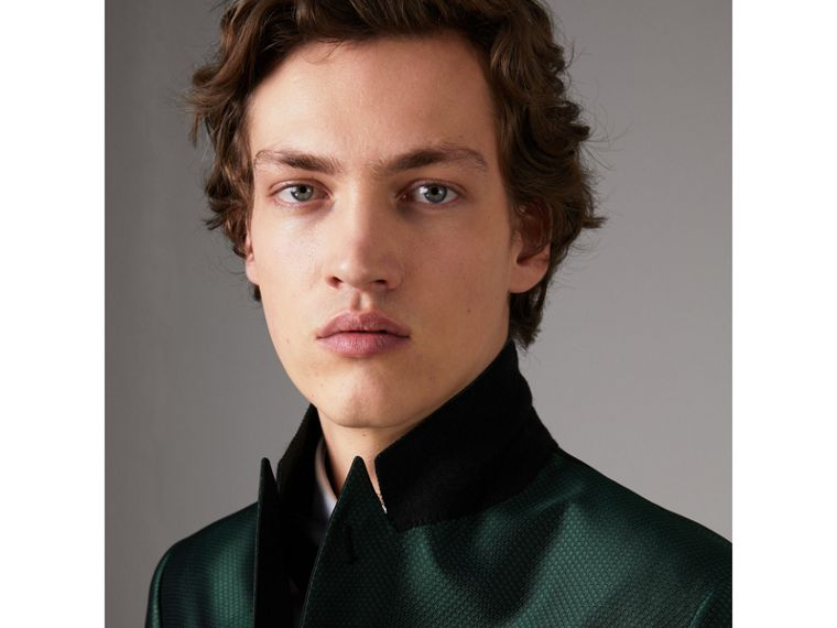 Soho Fit Jacquard Evening Jacket in Forest Green - Men | Burberry Canada - cell image 4