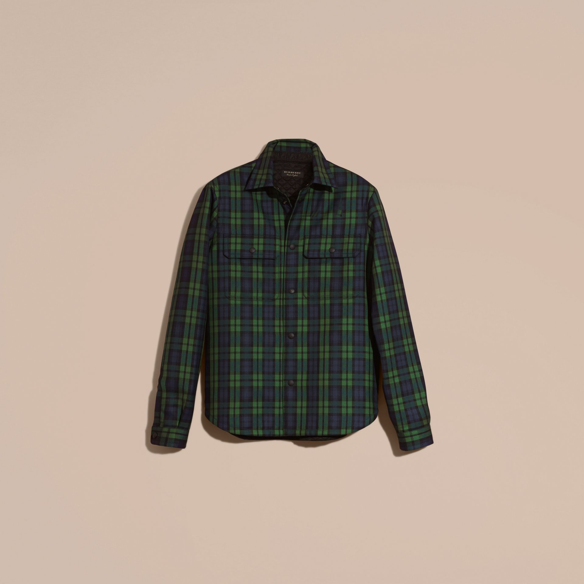 Dark forest green Tartan Wool Wadded Shirt - gallery image 4